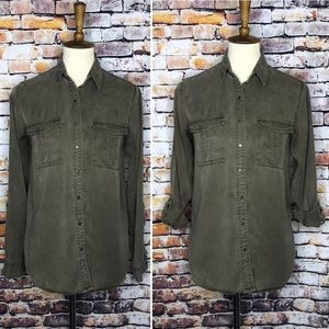 Thread & Supply Olive Green Lyocell Button Up Top